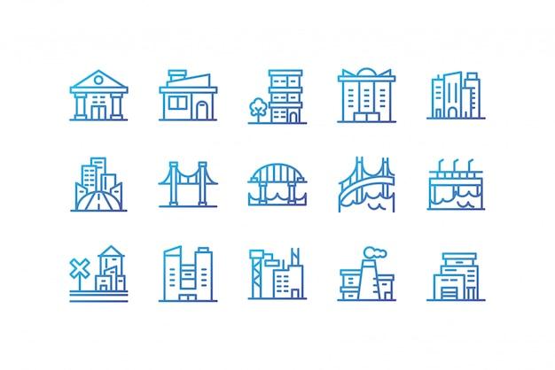 Odosobnionej miasto budynków ikony ustalony wektorowy projekt