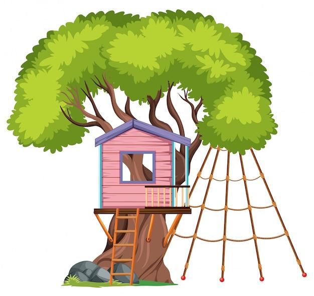 Odosobniony dom na drzewie na białym tle