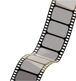 Odosobniony film z białym tłem, 3d rendering. taśma filmowa 3d