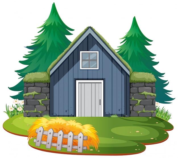 Odosobniony kamienia dom na białym tle