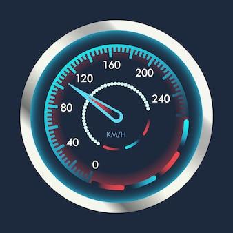Odosobniony prędkościomierz. urządzenie do pomiaru prędkości i futurystyczny prędkościomierz na panelu pojazdu, znak prędkości pobierania z internetu.