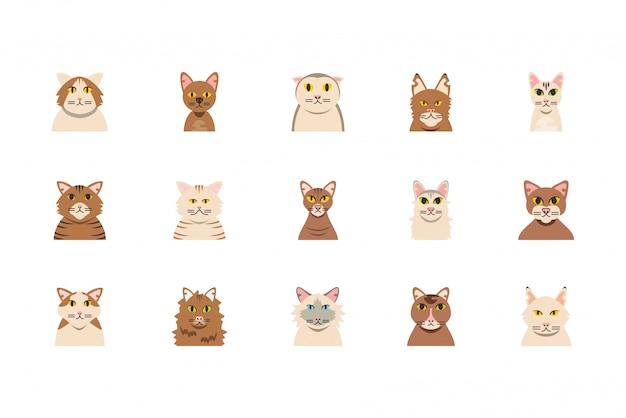 Odosobniony set śliczny biały i brown kot kreskówek projekt
