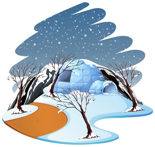 Odosobniony zimy sceny krajobraz