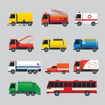 Odpady, olej, zaopatrzenie w wodę, prąd, pojazdy ratunkowe, ciężarówki i autobusy