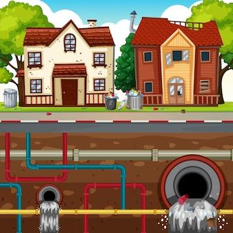 Odpady pipe underground of big city