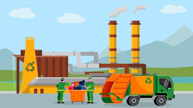 Odpady przetwarzają rośliny, ilustracja. koncepcja przemysłu recyklingu śmieci, ludzie w pobliżu ciężarówki z kreskówki śmieci.