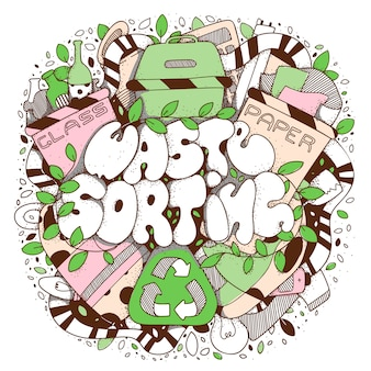 Odpady sortuje doodle stylową literowanie ilustrację