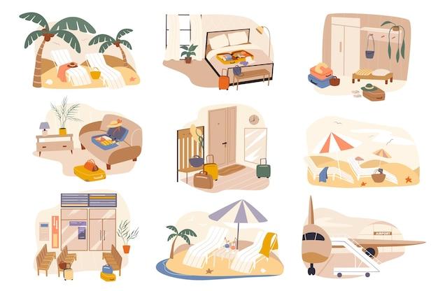 Odpocznij w hotelu w nadmorskim kurorcie na białym tle zestaw scen
