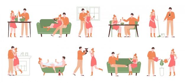 Odpoczynek w domu. przytulna rekreacja w pomieszczeniach, postacie gotujące, jedzące, kąpiące się i czytające, zestaw ilustracji stylu życia relaksujących wakacji. wesoły weekendowy charakter, relaks i siedzenie