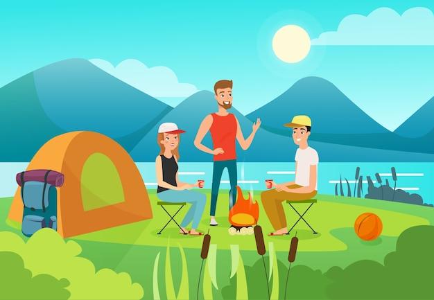 Odpoczynku członków rodziny płaska ilustracja. aktywny wypoczynek, zdrowy styl życia, koncepcja wakacji letnich. postaci z kreskówek turystów. ludzie na pikniku na świeżym powietrzu, kempingu, wycieczkach pieszych.
