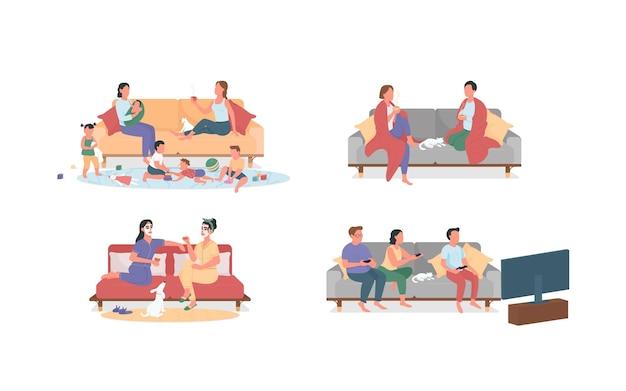 Odpoczywając w domu na kanapie zestaw znaków bez twarzy w płaskim kolorze