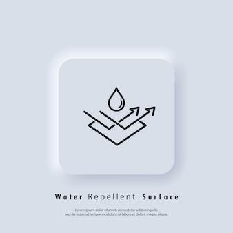 Odporna na wodę ikona powierzchni. wodoodporna ikona, symbol hydrofobowy. wektor eps 10. ikona interfejsu użytkownika. biały przycisk sieciowy interfejsu użytkownika neumorphic ui ux. neumorfizm