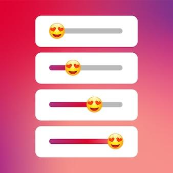 Odpowiadaj na historie z suwakiem, ankieta emoji szablon historia aplikacji ui koncepcja