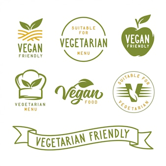 Odpowiedni dla wegetarian. zestaw etykiet wegańskich