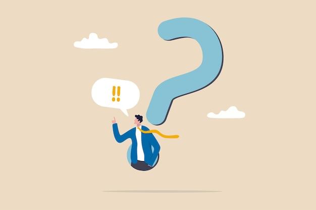 Odpowiedź na pytanie biznesowe, determinacja lub parapet i decyzja o rozwiązaniu problemu, faq koncepcja najczęściej zadawanych pytań, determinacja biznesmen wychodzi ze znaku zapytania, aby odpowiedzieć na pytanie.