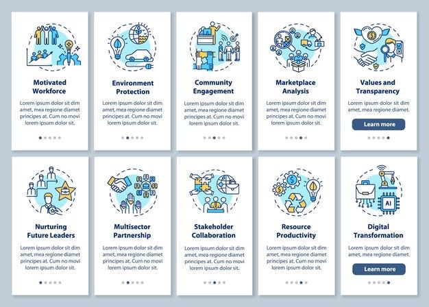 Odpowiedzialna produkcja wprowadzająca ekran strony aplikacji mobilnej z koncepcjami. kroki przejścia na zrównoważony rozwój instrukcje graficzne. szablon ui z kolorowymi ilustracjami rgb