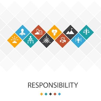 Odpowiedzialność koncepcja infografiki szablon modny interfejsu użytkownika. delegacja, uczciwość, rzetelność, ikony zaufania