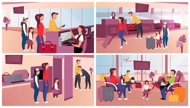 Odprawa na lotnisku w zestawie płaskim. kontrola paszportowa i bezpieczeństwa, kontrola bagażu. turyści na lotnisku. pasażerowie w poczekalni oczekujący odlotu, wchodzący na pokład postaci z kreskówek