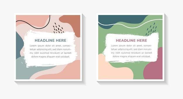 Odręczne banery społecznościowe z abstrakcyjnym geometrycznym wzorem z różowym brązowym zielonym niebieskim i nagimi kolorami pomalowanymi kształtami płynny styl fal z białym kształtem dla miejsca tekstu układ kwadratowy