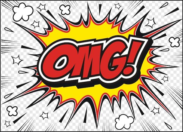 Odręczne ciągnione komiksu mowy bańka kreskówka słowo omg