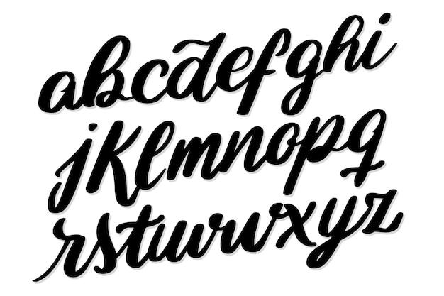 Odręczne czcionki czcionki alfabetu typografii