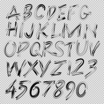 Odręczne czcionki pędzla, litery i cyfry, ilustracja