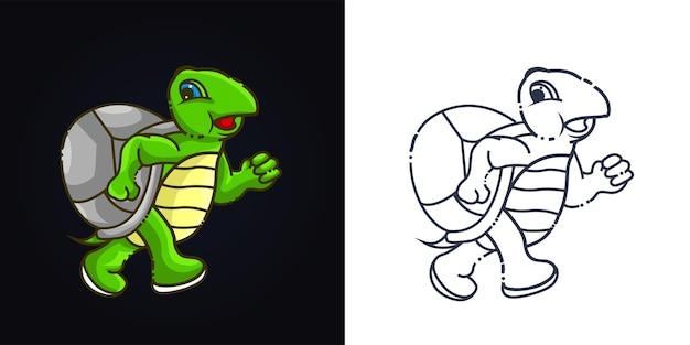 Odręczne i pełnokolorowa ilustracja grafika ładny żółw