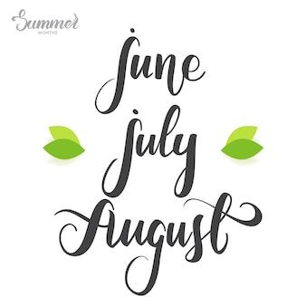 Odręczne litery miesięcy letnich