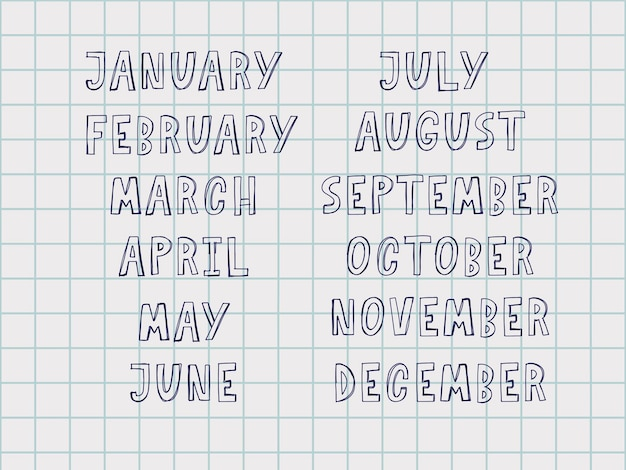 Odręczne nazwy miesięcy