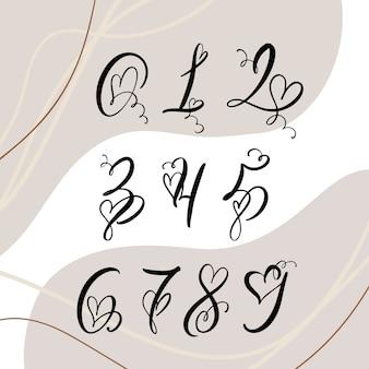 Odręczne numery monogram kaligrafii serca. valentine cursive czcionka z rozkwicie czcionki serca