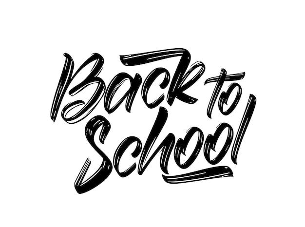 Odręcznie kaligraficzna kompozycja napis z powrotem do szkoły na białym tle