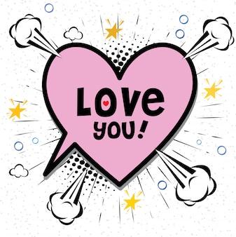 Odręcznie rysowane komiks mowy bańka kreskówka słowo kocham cię