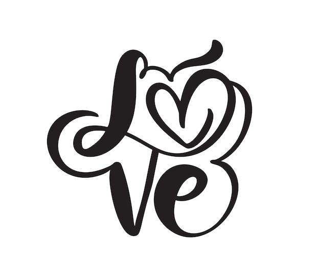 Odręcznie wektor logo tekst wycinane laserem miłość i serce happy valentines day card