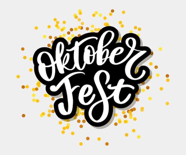 Odręczny czarny błyszczący napis oktoberfest.