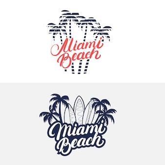 Odręczny napis miami beach z palmami i deskami surfingowymi