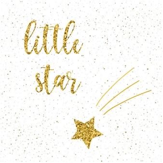 Odręczny napis na białym tle. ręcznie robiona mała gwiazda cytat i doodle gwiazda na projekt t-shirt, kartka świąteczna, zaproszenie na nowy rok, plakat, broszury, notatnik, album itp. złoto tekstury.