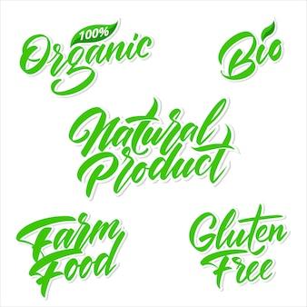 Odręczny napis na etykietach produktów zielonych. ilustracja wektorowa.