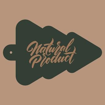 Odręczny napis. napis produkt naturalny na sylwetce choinki. ilustracja wektorowa