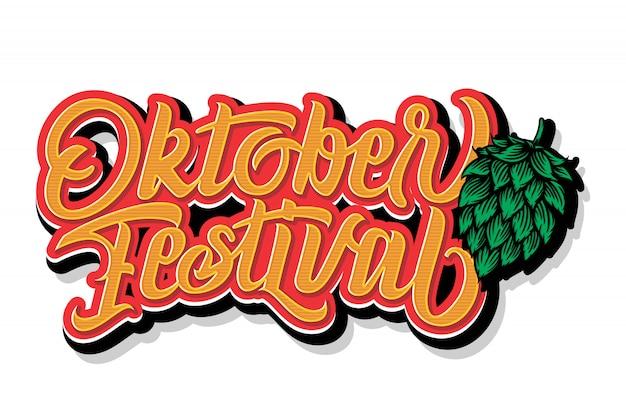 Odręczny napis oktoberfest. projekt typografii oktoberfest dla karty z pozdrowieniami i plakatu. banner festiwalu piwa. obchody szablonu projektu. ilustracja.