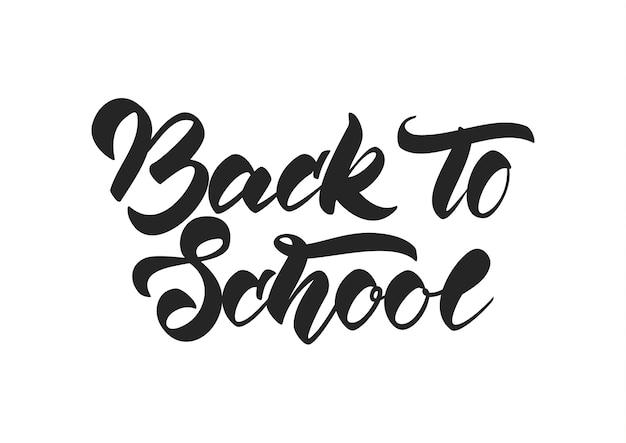 Odręczny napis z powrotem do szkoły na białym tle