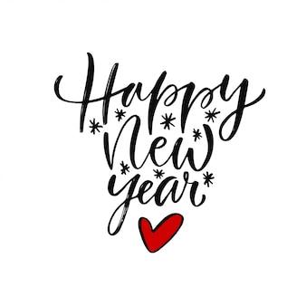 Odręczny nowy rok powitanie karta