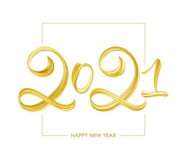Odręczny pędzel złoty napis farby. szczęśliwego nowego roku