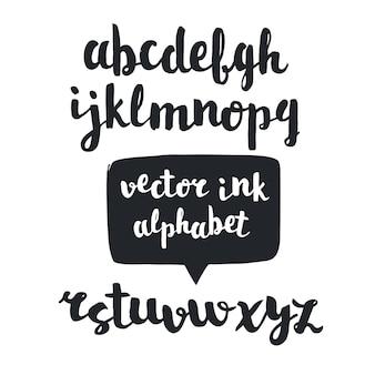 Odręczny skrypt pędzla. ręcznie rysowane alfabet