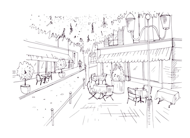 Odręczny szkic europejskiej kawiarni na świeżym powietrzu lub kawiarni ze stołami pokryte obrusy i krzesła stojące na ulicy miasta ręcznie rysowane z konturami na białym tle. ilustracja wektorowa.