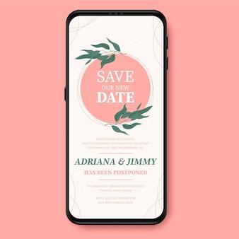 Odroczony format ekranu smartfona ogłoszenia o ślubie