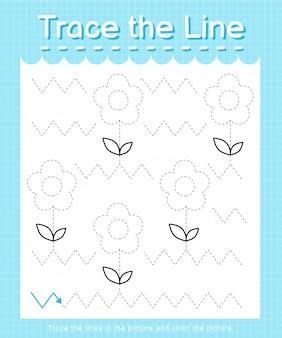 Odrysuj linię: obrysuj linie przerywane i pokoloruj obrazek - kwiaty