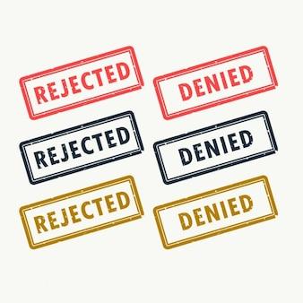 Odrzucony i odmówiono pieczątki ustawione w różnych kolorach