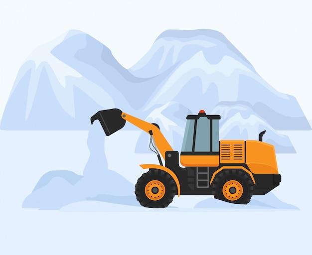 Odśnieżanie w zimnej zimy ilustraci. żółty silnik benzynowy odśnieżarki pracuje na drodze do czyszczenia. białe ogromne górskie zaspy.