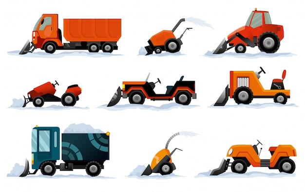 Odśnieżarki. roboty drogowe. zestaw sprzętu pług śnieżny na białym tle. ciężarówka pług śnieżny, spycharka koparki, transport odśnieżarki mini traktor