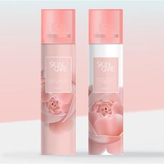 Odświeżacz powietrza, spray do spania lub aerozol do twarzy w aerozolu z przezroczystą koroną. wzorzysty wzór róży.